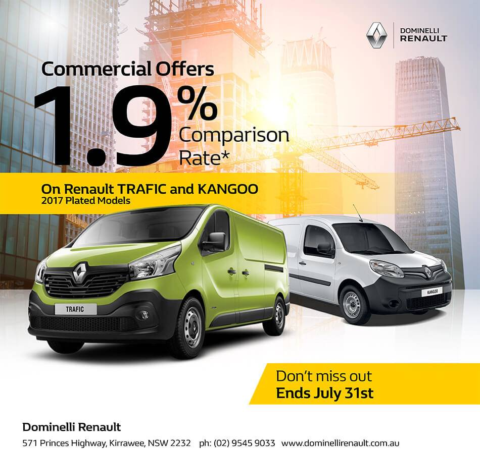 Trafic and Kangoo 1.9% Comparison Rate