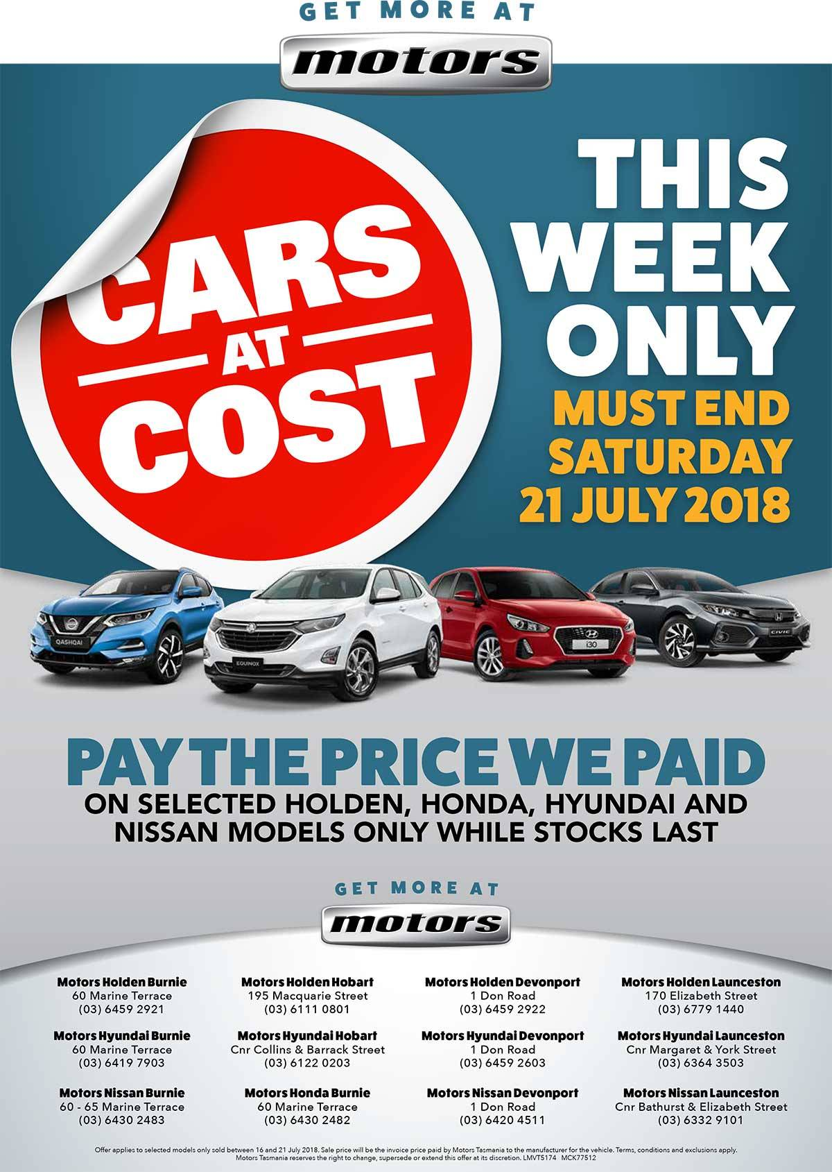 Cars At Cost Special