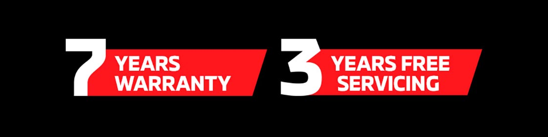 7 Years Warranty + 3 Years Free Servicing