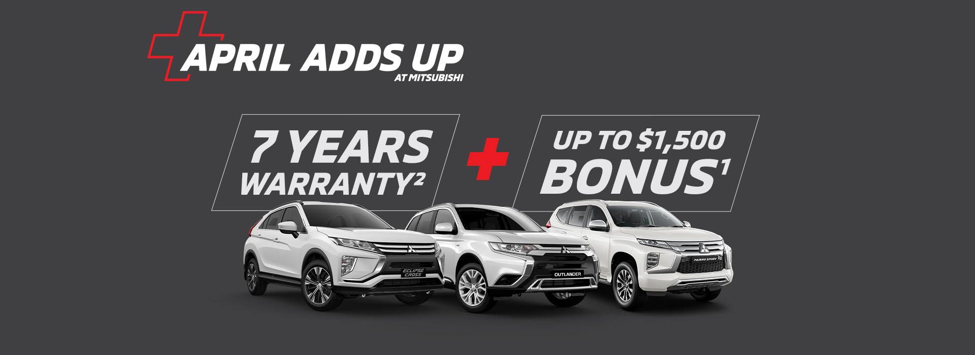 Mitsubishi 7 Years Warranty + Up to $1,500 Bonus
