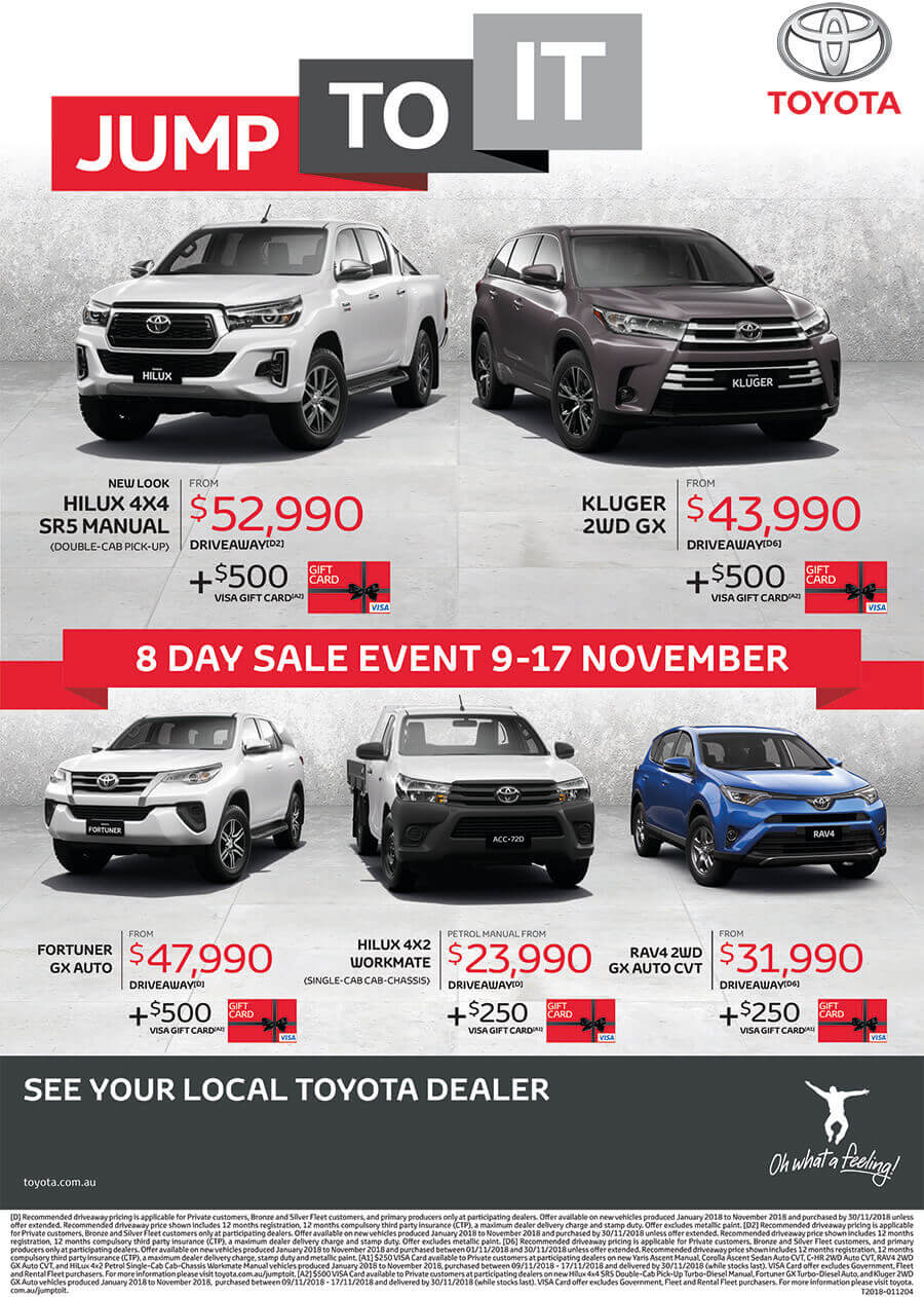 Jump to It! Toyota 8 Day Sale Event