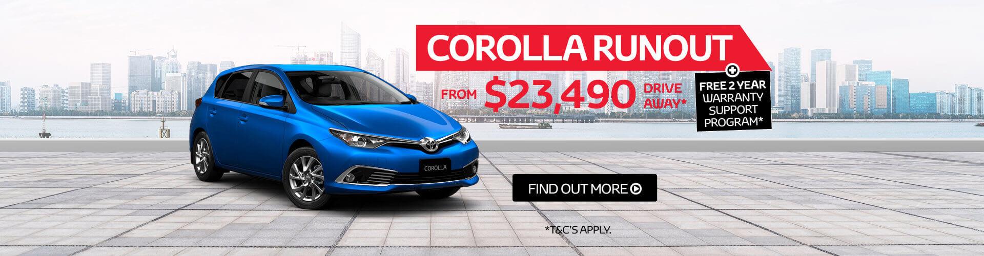 Corolla Runout Sale