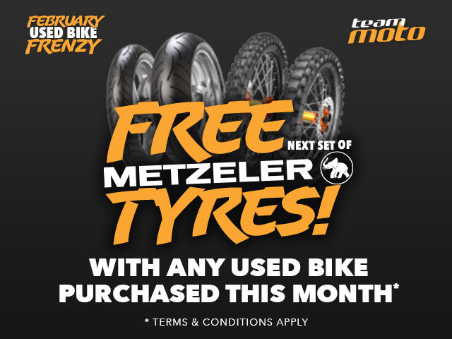 FREE Metzeler Tyres During The February Used Bike Frenzy Sale @ TeamMoto!