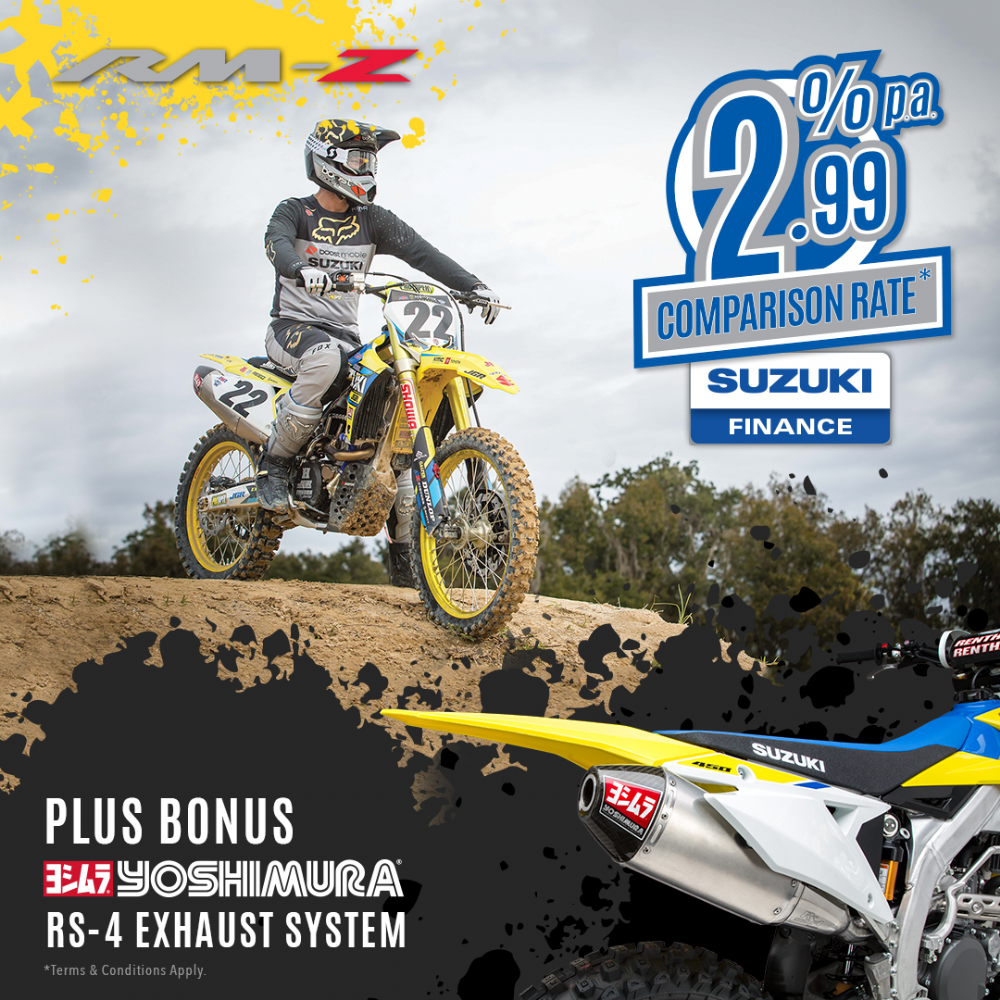 2.99% p.a Comparison Rate Finance on Suzuki RM-Z Range!