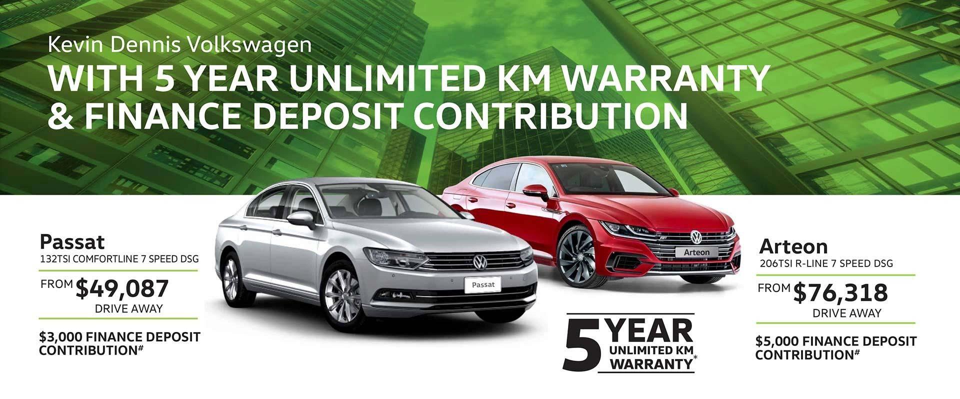 Passat 5 Year Unlimited KM Warranty