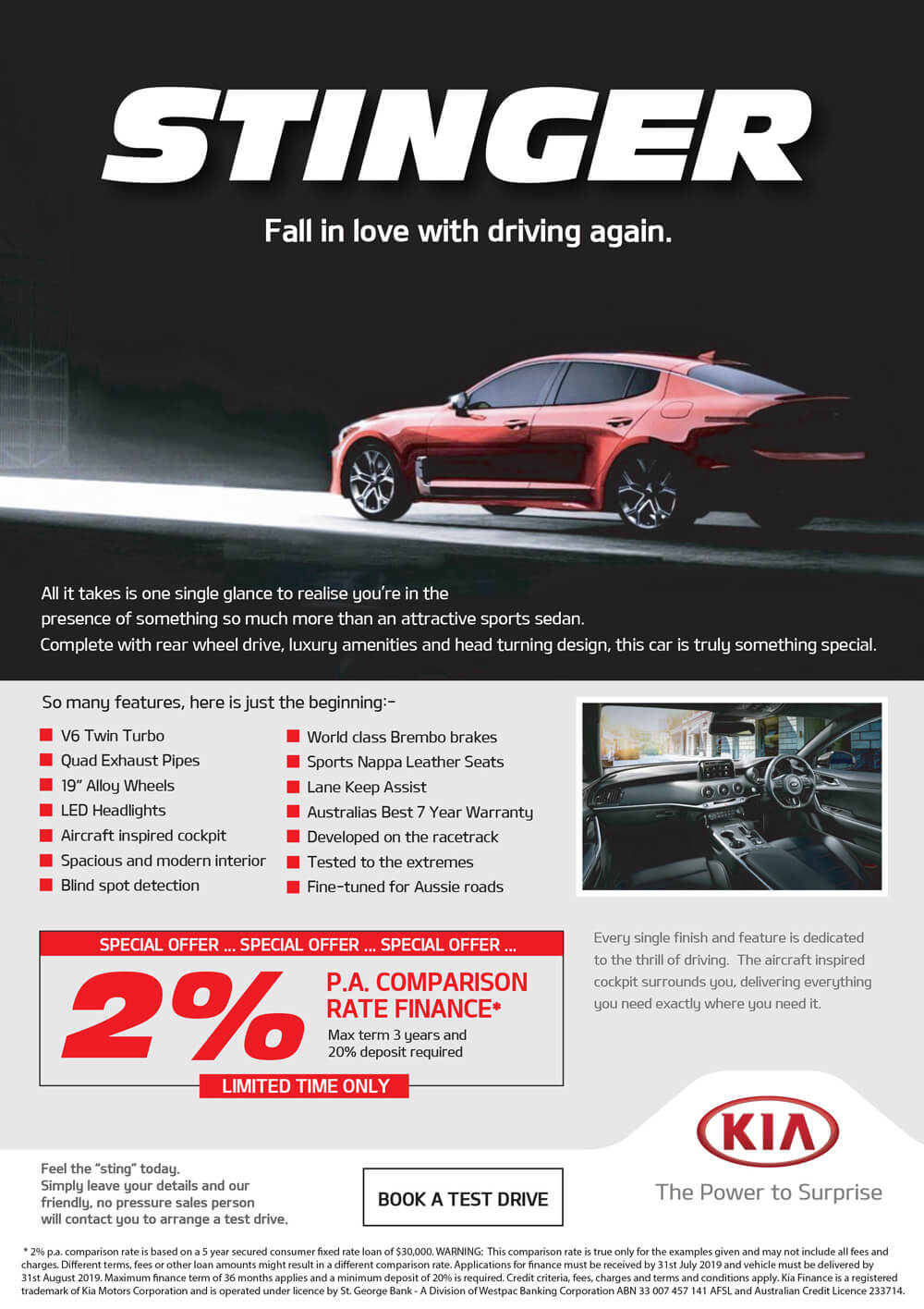 Book a Test Drive - All New Stinger