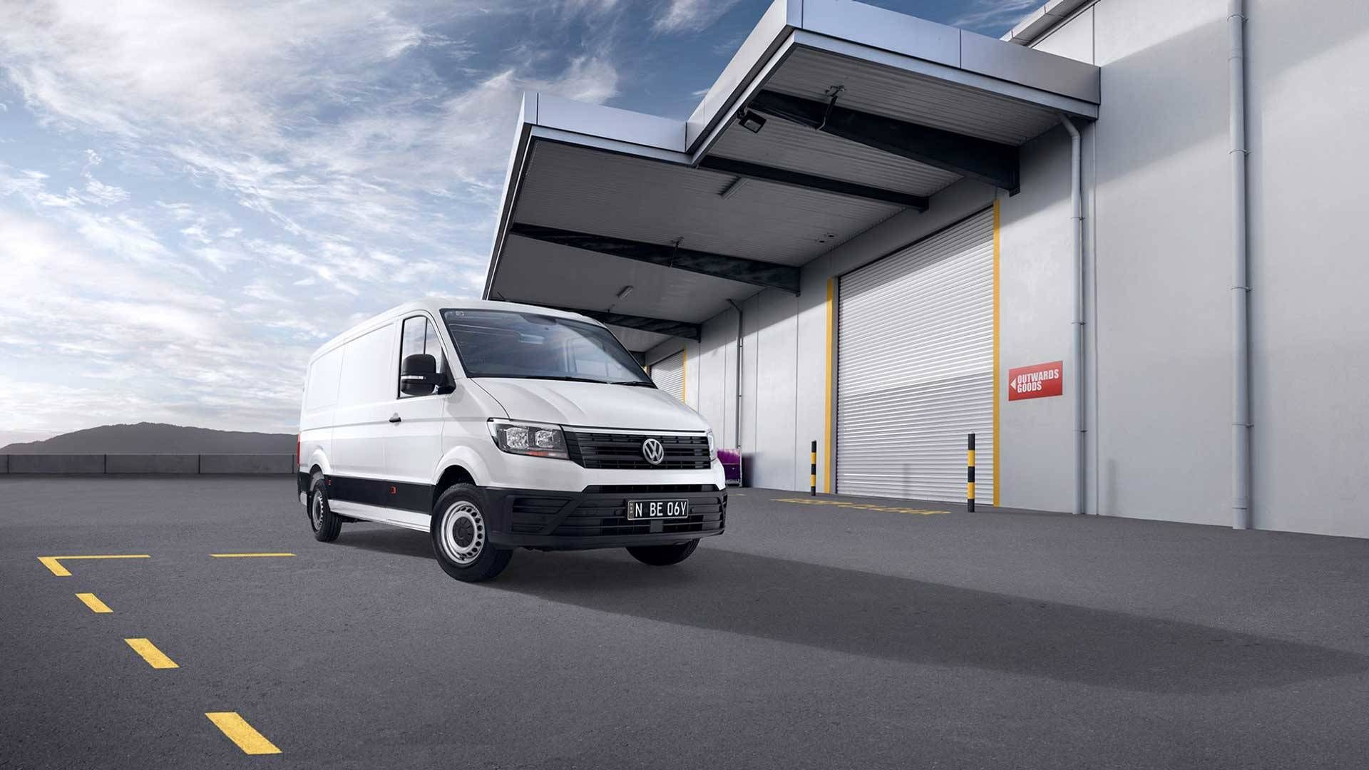 Pure White Crafter Van loading near Loading Dock