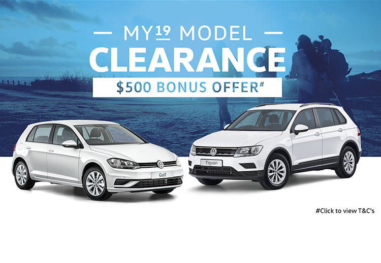 MY19 Model Clearance on selected Volkswagen Passenger vehicles at McCarroll's Volkswagen, Waitara NSW.