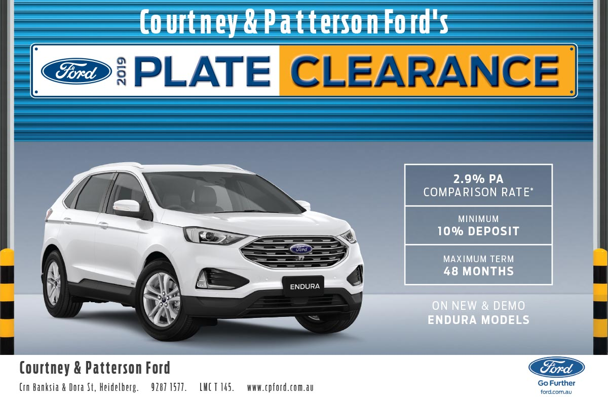 Courtney & Patterson 2019 Plate Clearance