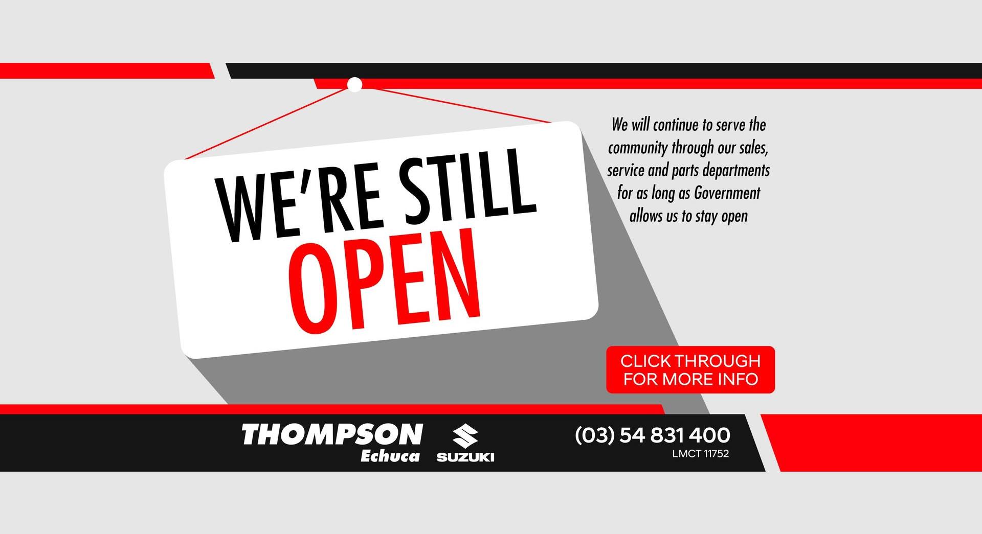 Echuca Suzuki We're Still Open