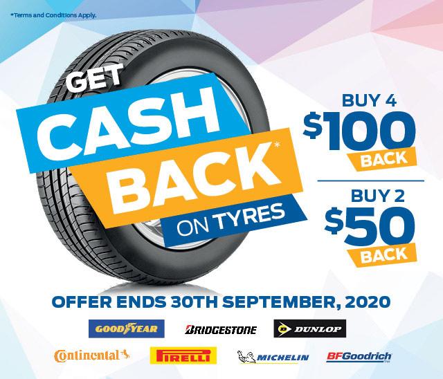 Buy 4 Tyres, Get $100 Cashback
