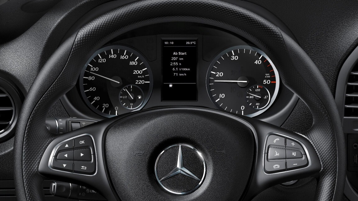 Multifunction steering wheel with trip computer