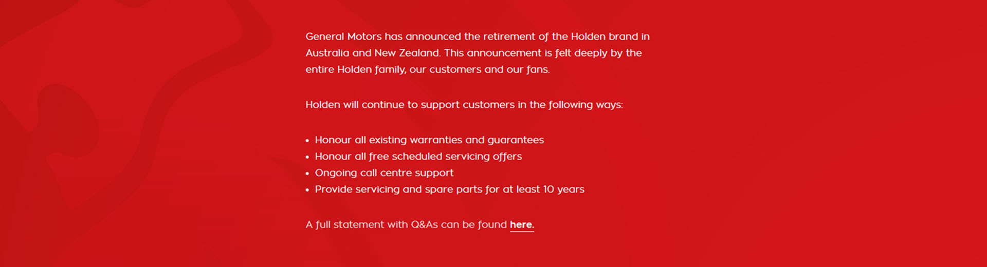 Holden Statement