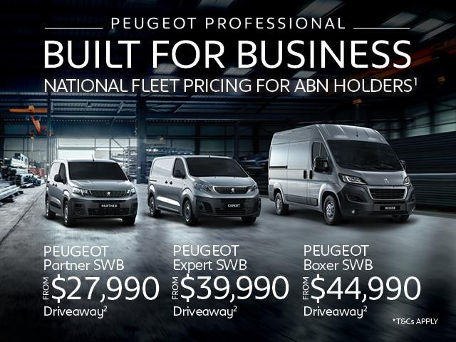 <h4>Our PEUGEOT Professional Expert, Partner & Boxer Vans are Built for Business.<br>Take advantage of our National Fleet Pricing for ABN Holders<sup>1</sup> today.</h4>