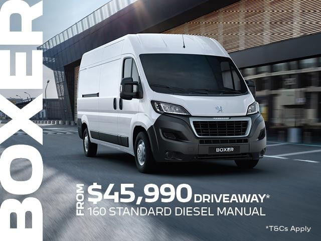 <h4>The PEUGEOT Boxer Van is the largest of the Light Commercial Vehicle range and features technology that simply makes life easier, whether you are on the road, at a job or on the worksite.<h4> <h4>Between the 1st July and September 30th, you will be able to take advantage of our Driveaway offer</h4> <ul> <li>From $45,990 Driveaway<sup>1 </sup>the PEUGEOT Boxer 160 Standard Diesel Manual will be yours.</li> <li>5 year/200,000km warranty<sup>2 </sup>+ 5 year Roadside assist<sup>3 </sup>.</li> </ul>Contact %%dealerName%% today to find out how the Peugeot Boxer will simplify your life.<p>