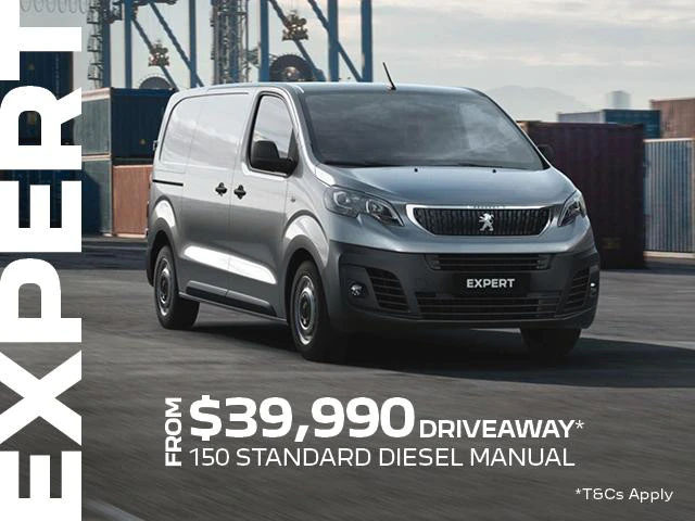 <h4>The PEUGEOT Expert Van has a wealth of features designed to support you and all of your business needs.<h4> <h4>Between the 1st July and September 30th, you will be able to take advantage of our Driveaway offer.</h4> <ul> <li>From $39,990 Driveaway<sup>1 </sup>the PEUGEOT Expert 150 Standard Diesel Manual willbe yours.</li> <li>5 year/200,000km warranty<sup>2 </sup>+ 5 year Roadside assist<sup>3 </sup>.</li> </ul>Contact %%dealerName%% today to find out how the Peugeot Expert can help with all your business needs.<p>