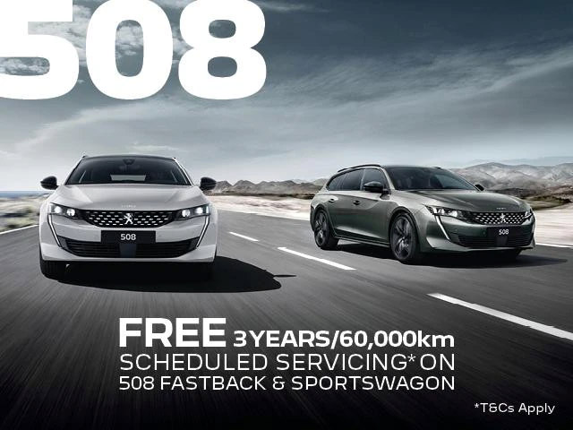 <h4>The PEUGEOT 508 is a Sleek, Elegant and Boldly designed vehicle which is guaranteed to turn heads. We can offer you all that in the Peugeot 508 as well as the peace of mind of 3 years/60,000km Free Scheduled Servicing<sup>1</sup>.</h4> <h4>Between the 1st  July  - 30th September you will receive:</h4> <ul> <li>3 years/60,000kms Free Scheduled Servicing<sup>1</sup> on the new and demonstrator MY21 PEUGEOT 508 Fastback and Sportswagon models.</li> <li>5-year Unlimited KM Warranty<sup>2</sup> + 5-year Roadside Assist<sup>3</sup>.</li> </ul> <p>Contact %%dealerName%% today to find out more.<p>