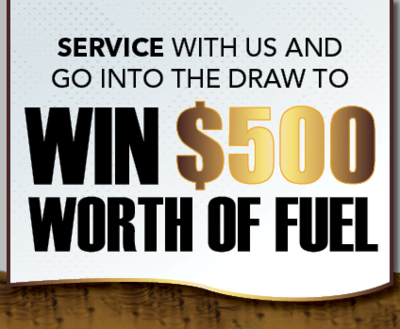 Win $500 worth of fuel sign image