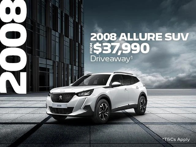 <H4>You will be able to escape the ordinary with the PEUGEOT 2008 Allure SUV, it is the versatile SUV designed with your lifestyle in mind.</H4> <p>Between the 1st October and 30th November 2021, you will be able to take advantage of our Driveaway<sup>1 </sup>offers.</p> <ul> <li>From $37,990 Driveaway<sup>1 </sup>the MY21 Peugeot 2008 Allure SUV will be yours.</li> </ul> <p>Or if you you were considering upgrading to the Peugeot 2008 GT SUV, it could be yours from $41,990 Driveway<sup>1 </sup></p> </ul>Contact %%dealerName%% today to find out how you can add a little piece of French luxury to your life.<p>