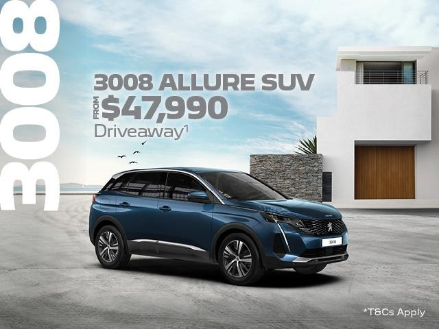 <H4>Are you looking for a sleek SUV which combines technology with elegance, then the PEUGEOT 3008 Allure SUV could be the one for you.</H4> <p>Between the 1st October and 30th November 2021, you will be able to take advantage of our Driveaway<sup>1 </sup>offers</p> <ul> <li>From $47,990 Driveaway<sup>1 </sup>the MY21 Peugeot 3008 Allure SUV will be yours.</li> </ul> <p>Or if you you were looking for an SUV with a little more luxury and features why not consider the Peugeot 3008 GT SUV, it could be yours from $50,990 Driveway<sup>1 </sup></p> </ul>Contact %%dealerName%% today to find out how you can own a piece of French luxury with the Peugeot 3008 SUV.<p>