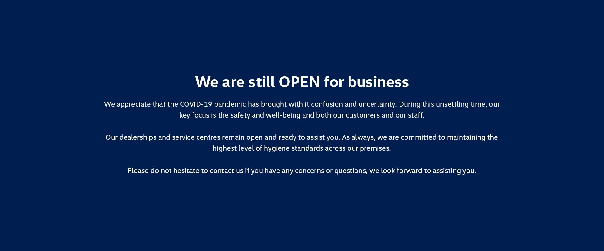 We are still OPEN for business