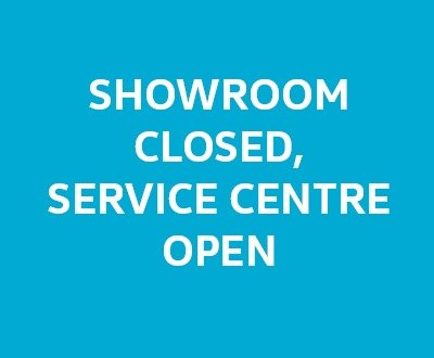 The words 'showroom closed, service centre open' on a blue background image