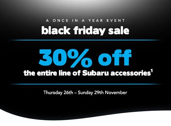 30% off the Entire Line of Subaru Accessories