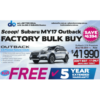 MY17 Outback 2.5i Premium $41990 Bulk Buy Small Image