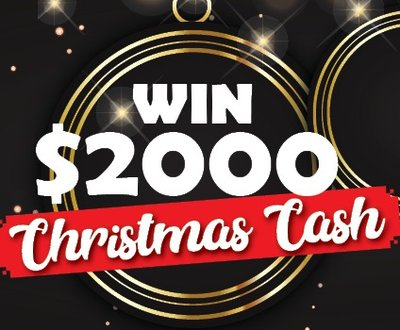 Win $2,000 Christmas cash sign on a black sparkling background and a gold circle image