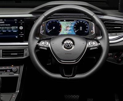 Close up of VW steering wheel image