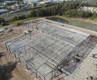 Daimler Trucks Darra dealership construction drone shot image