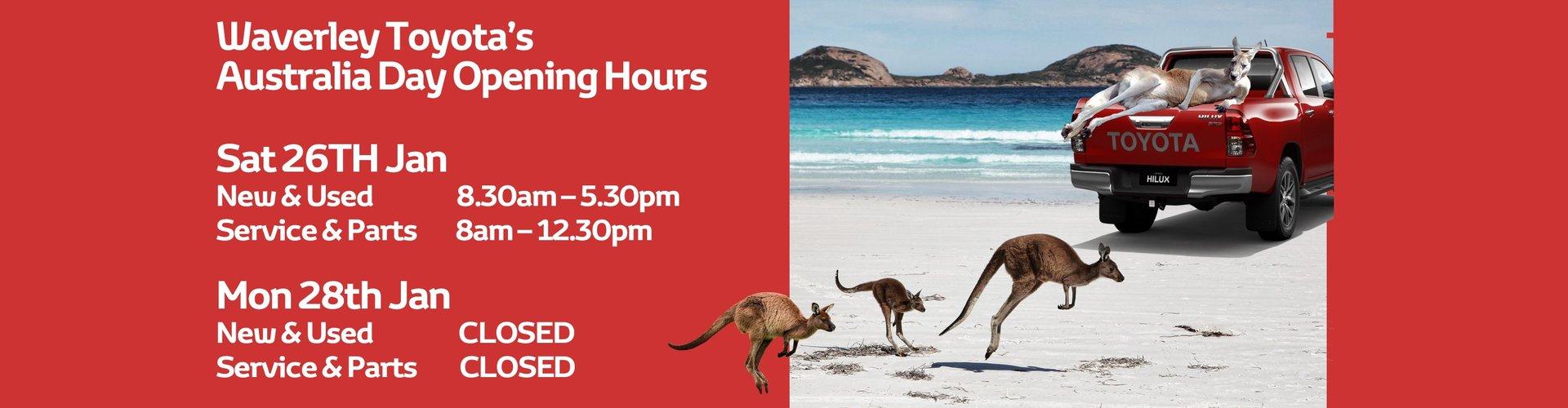 Waverley Toyota Australia Day Opening Hours