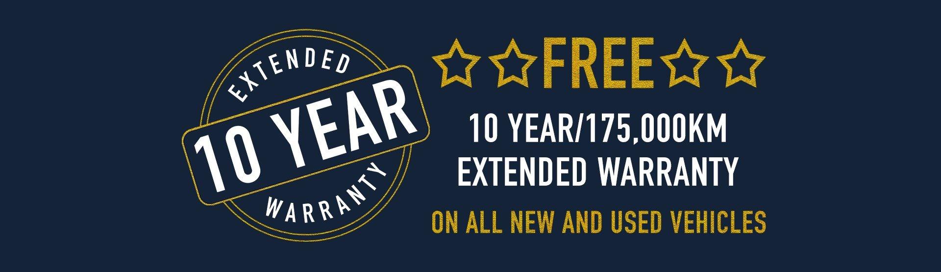 Free 10 year/175,000km extended warranty