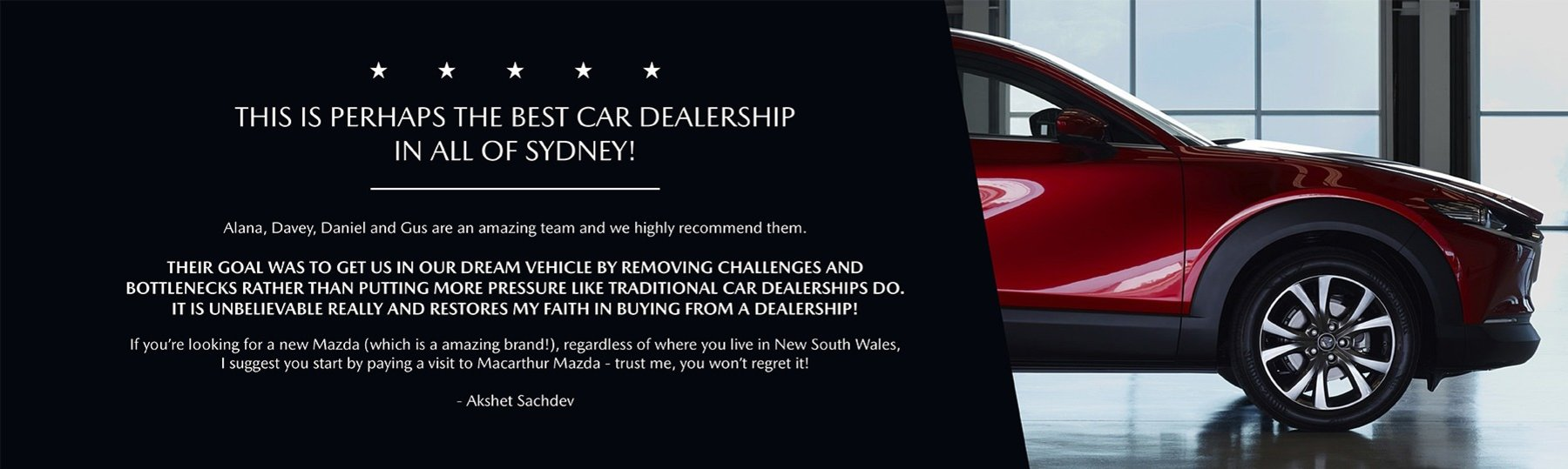 Testimonial- This is perhaps the best car dealership in all of Sydney!