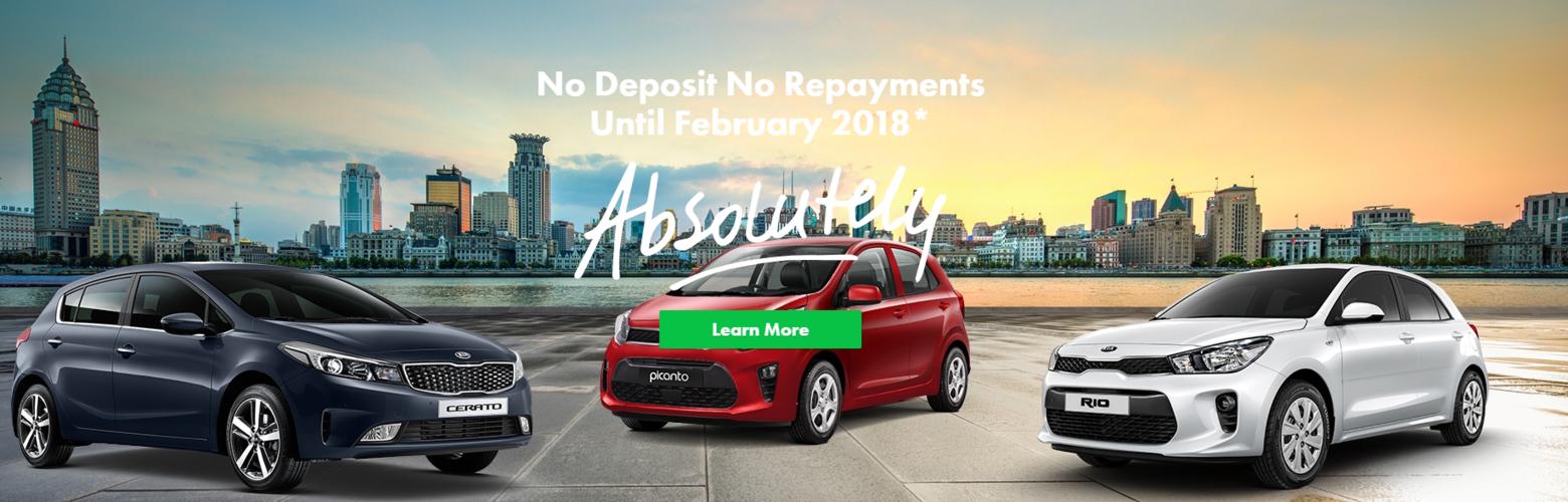 Kia No Deposit No Repayments To 2018