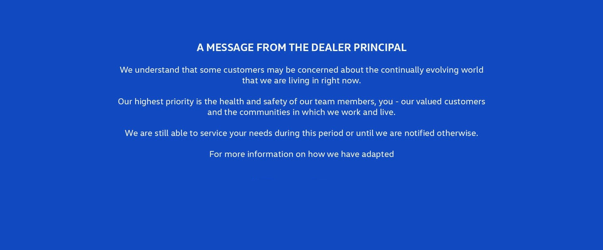 A Message From The Dealer Principal