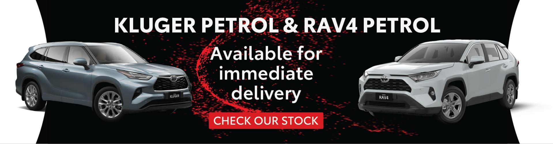 RAV4 Petrol & Kluger Petrol in stock at Ken Mills Toyota