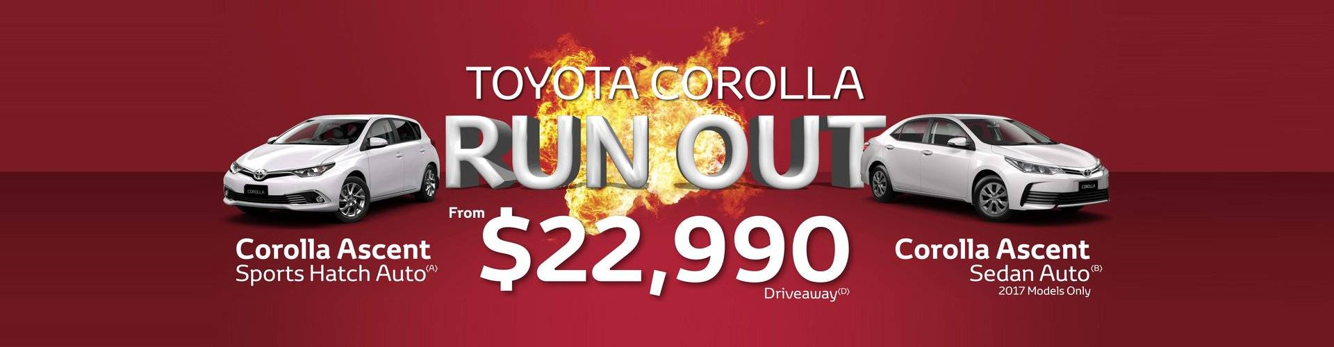 Toyota Corolla Run Out Sale