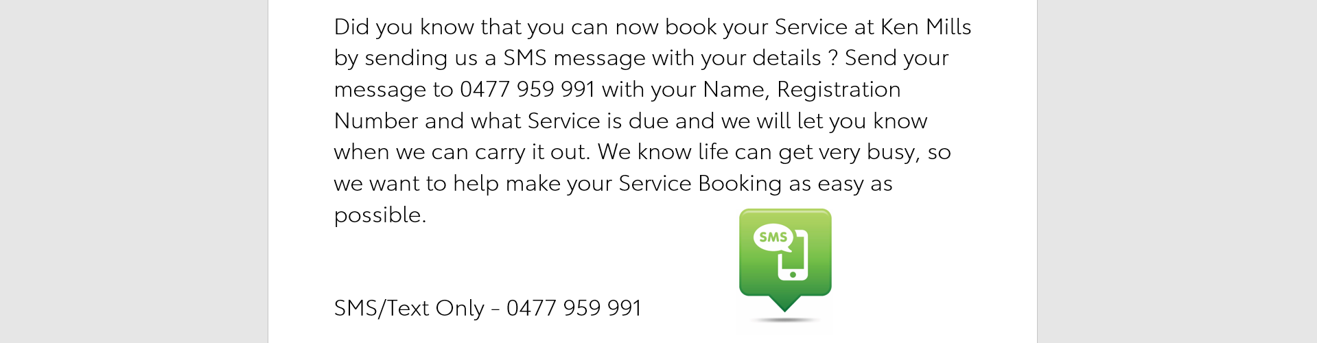 SMS/Text us to Book a Service