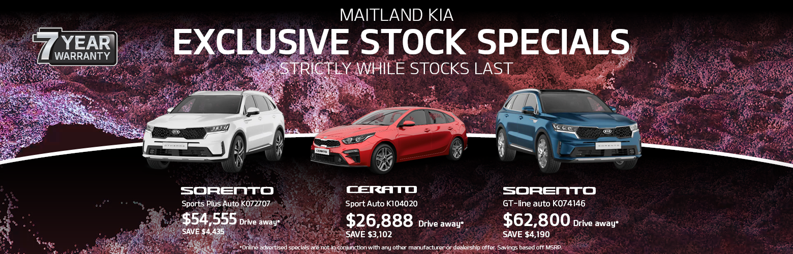 Maitland Kia's weekly stock specials