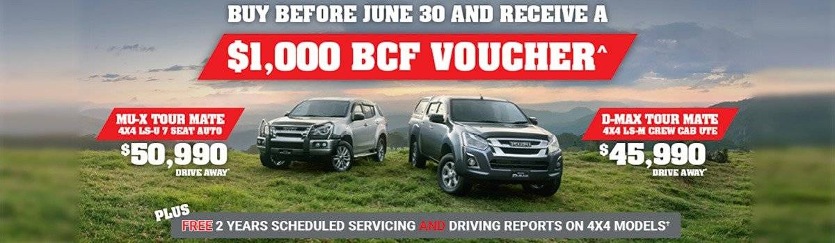 Buy a MU-X or D-MAX Tour Mate before June 30 and receive a $1,000 BCF Voucher!* Large Image