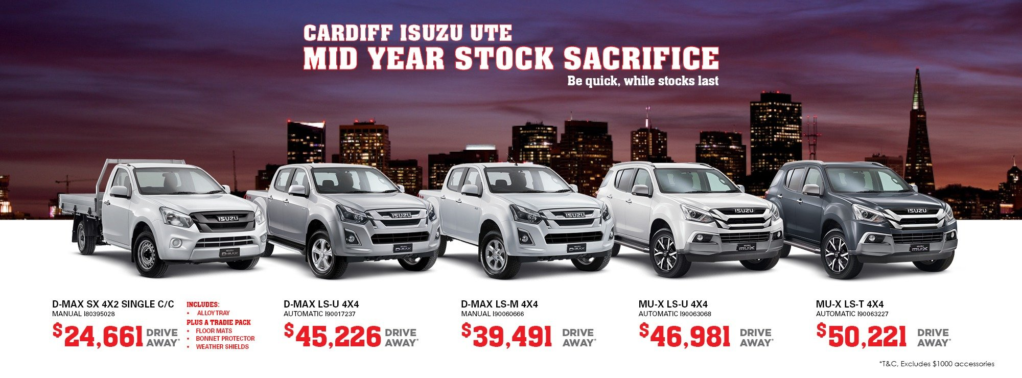 Cardiff Isuzu Ute remaining EOFY stock