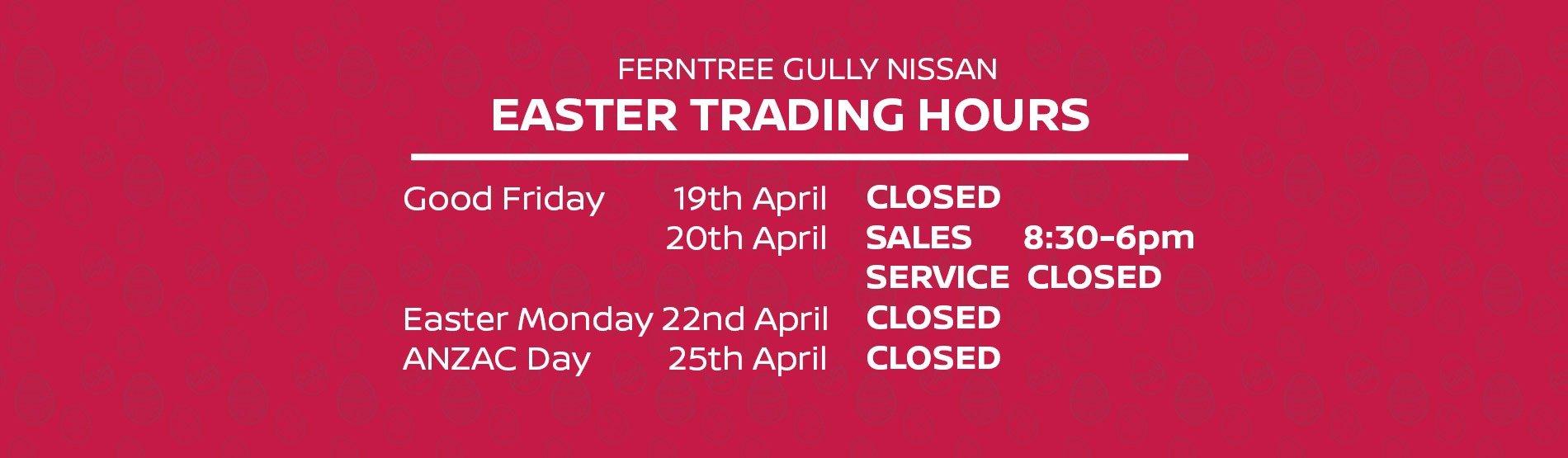 FTG Nissan Easter Hours