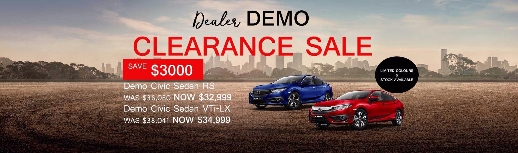 Wangara Honda Dealer Demo Clearance Sale