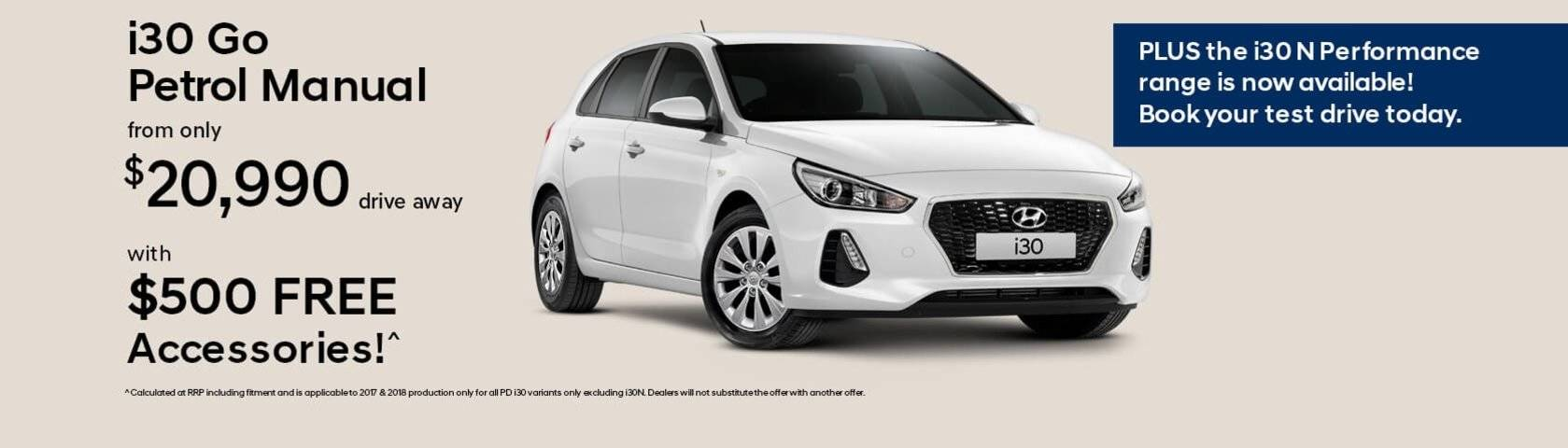 i30 Go Petrol Manual from only $20,990
