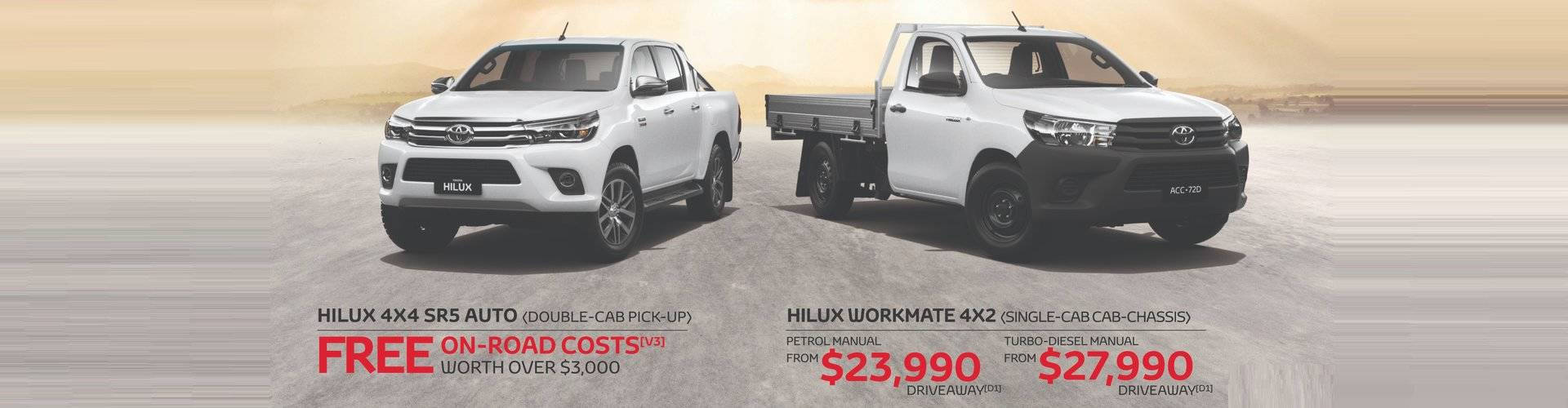 Waverley Toyota's Great Deals on HiLux 4x4 SR5 and HiLux 4x2