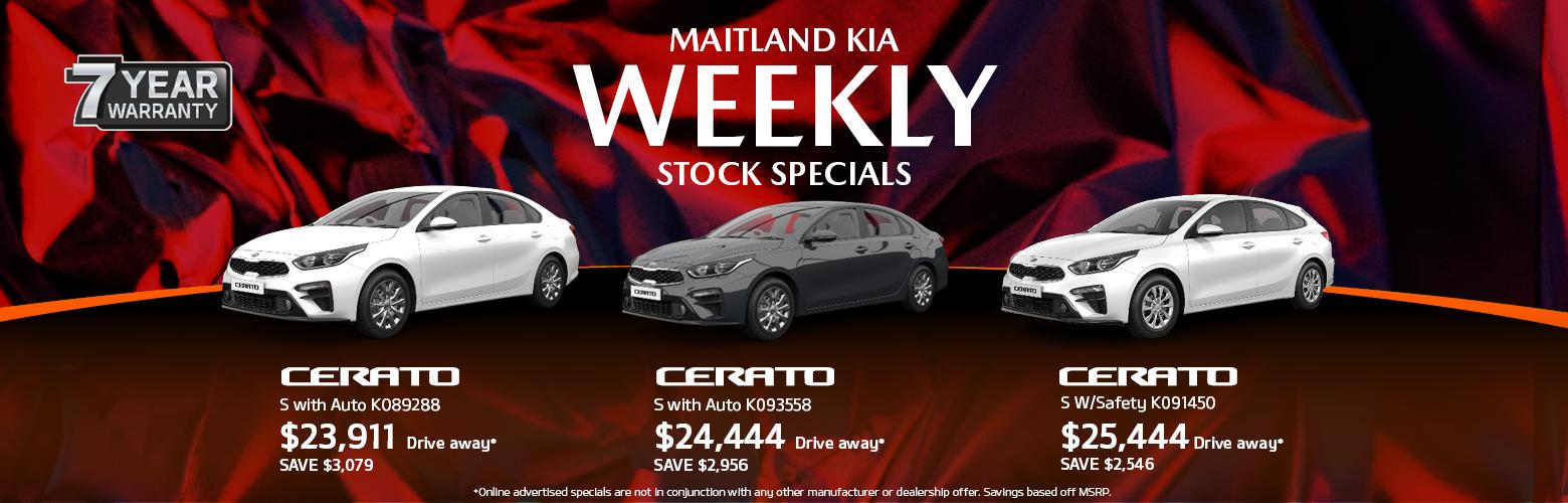 Maitland Kia's weekly stock specials