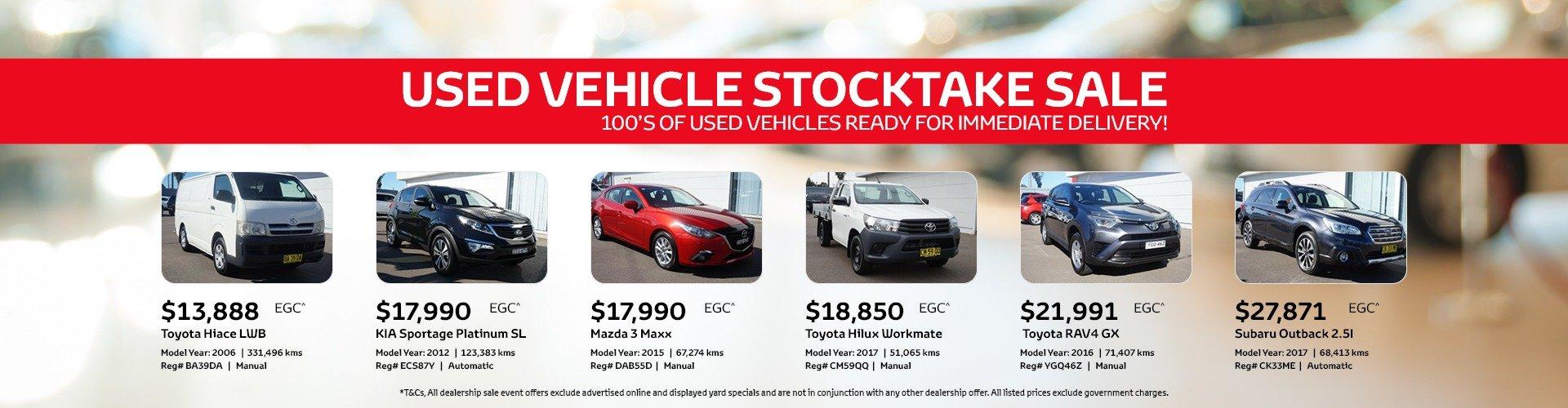 used vehicle stocktake sale