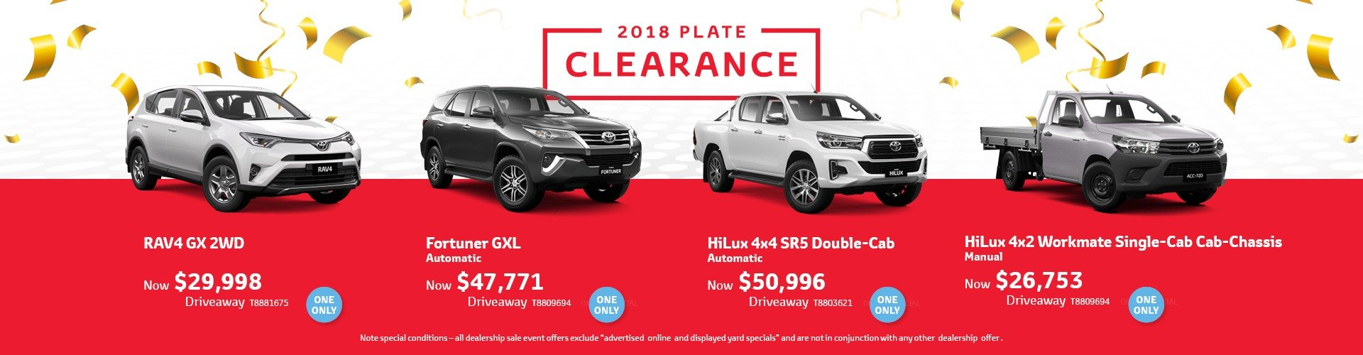 Cardiff Toyota 2018 Plate Clearance