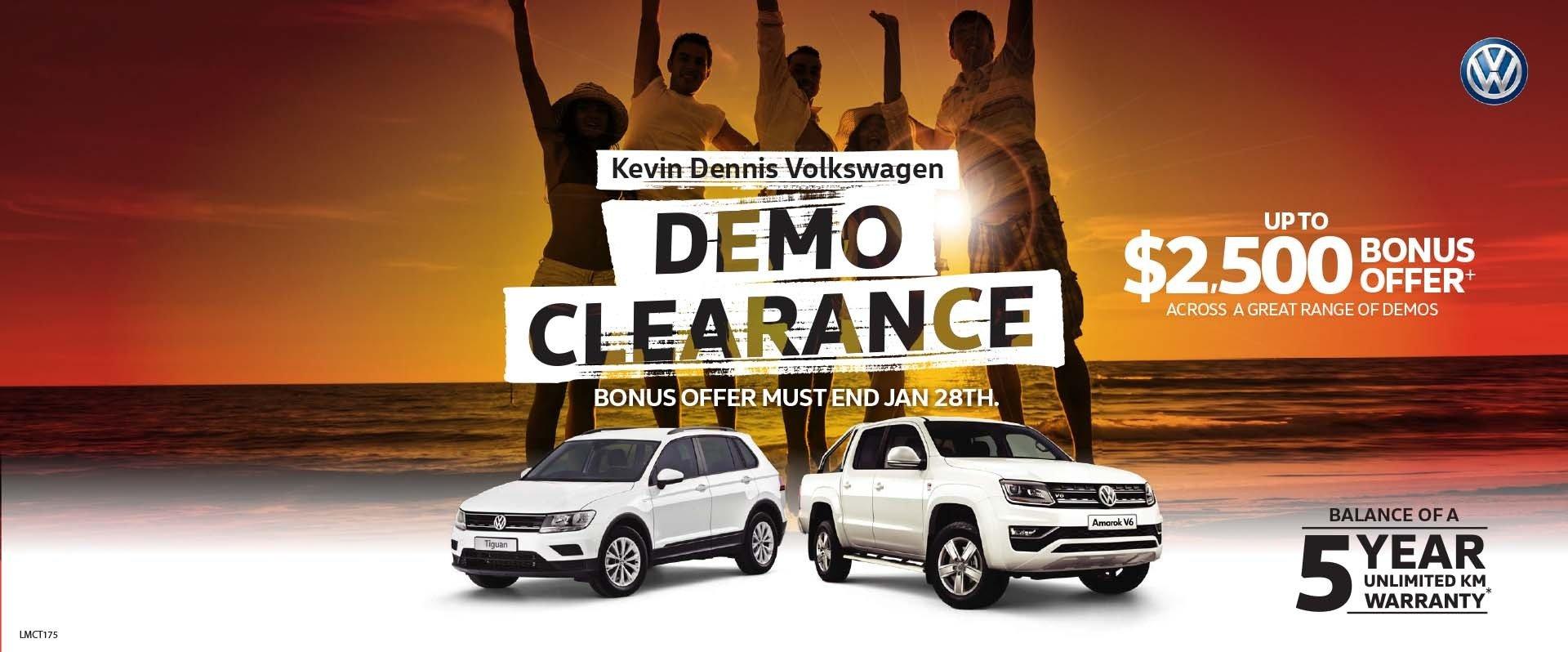 Kevin Dennis VW - Demo Clearance Sale